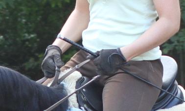 Die Hände einer Reiterin. Nicht ideal getragen.